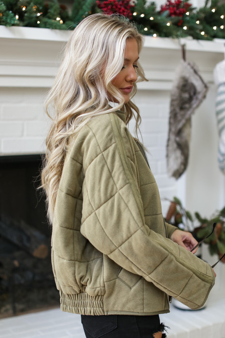 Olive - Quilted Knit Jacket Side View