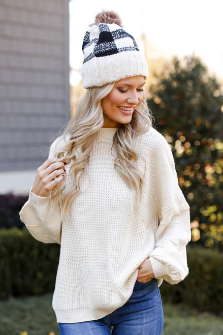 Ivory - Statement Sleeve Sweater