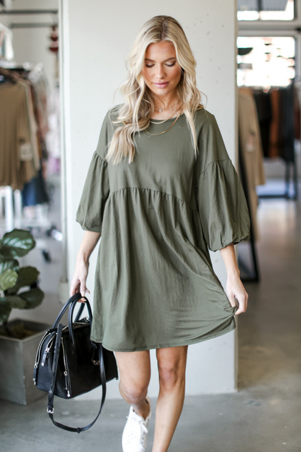 Olive - Dress Up model wearing a Puff Sleeve Babydoll Dress