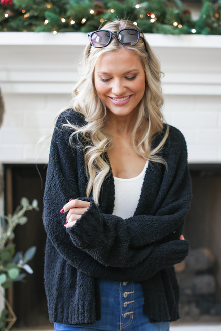Black - Fuzzy Knit Cardigan from Dress Up