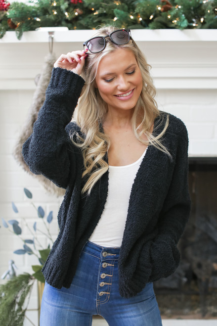 Black - Fuzzy Knit Cardigan