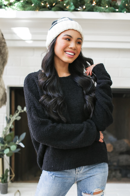 Black - Fuzzy Knit Sweater