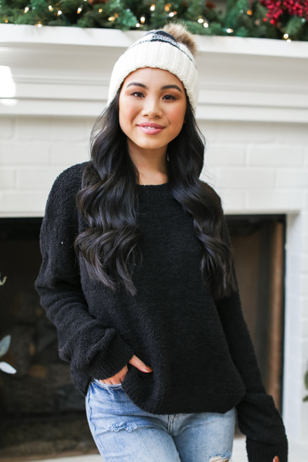 Black - Fuzzy Knit Sweater from Dress Up