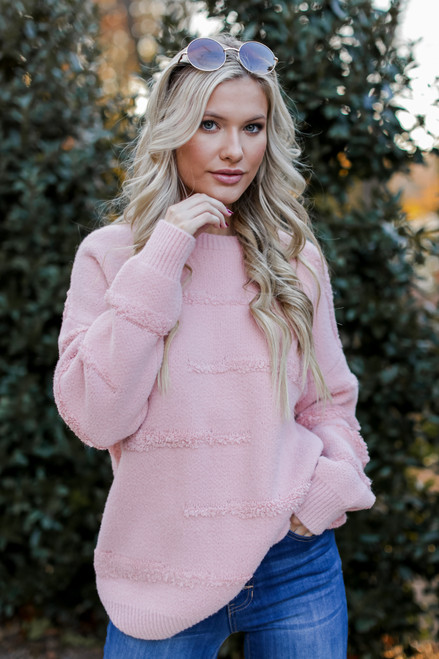 Blush - Oversized Fuzzy Knit Sweater