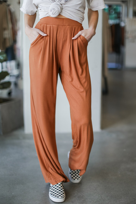 Camel - Ribbed Knit Wide Leg Pants