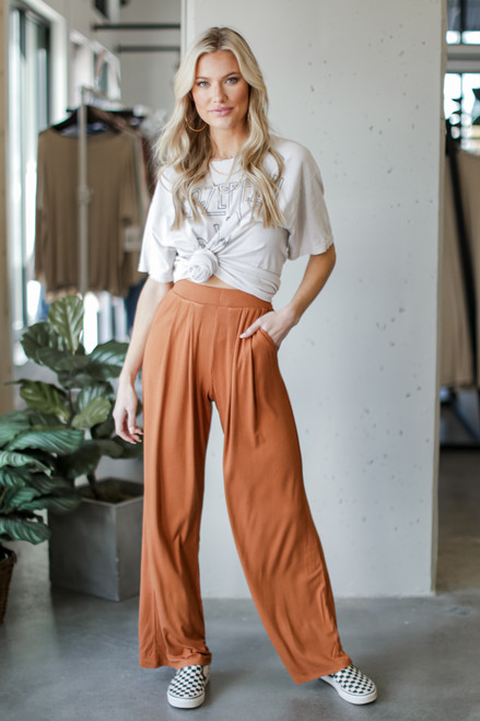 Camel - Ribbed Knit Wide Leg Pants from Dress Up