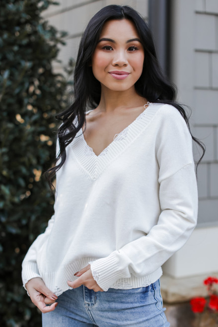 Ivory - Atlanta Distressed Sweater from Dress Up