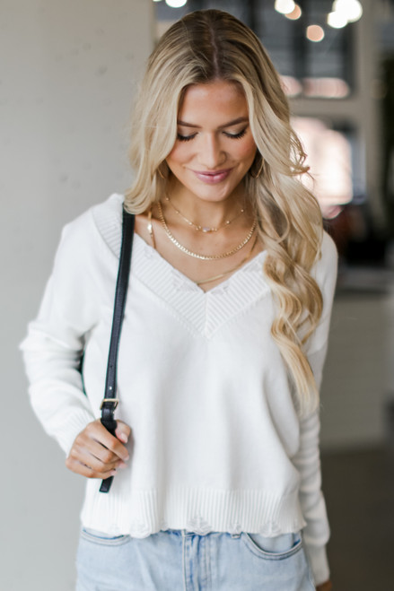 Ivory - Charleston Distressed Sweater from Dress Up