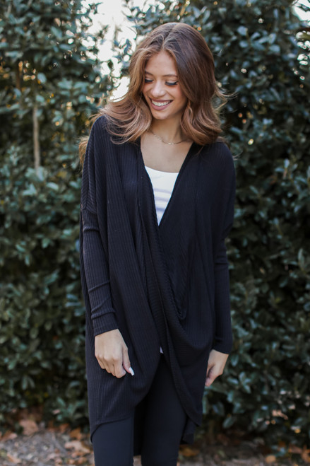 Black - Oversized Surplice Tunic