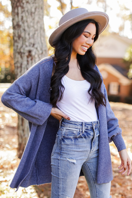 Blue - Dress Up model wearing a Luxe Knit Cardigan