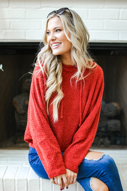 Rust - Fuzzy Knit Hoodie from Dress Up
