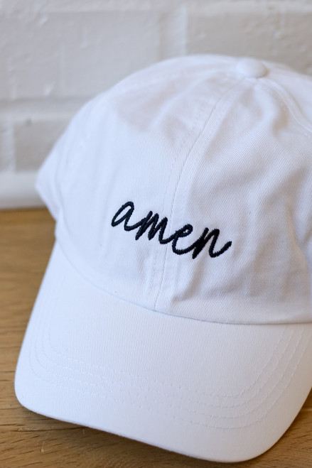 White - Flat Lay of Amen Cap