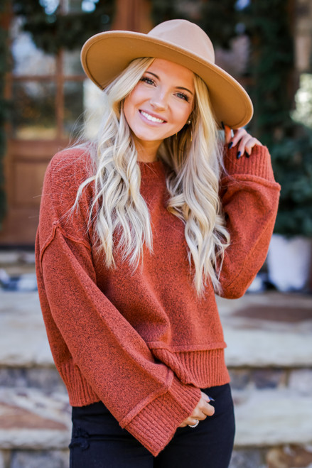 Rust - Oversized Cropped Sweater from Dress Up