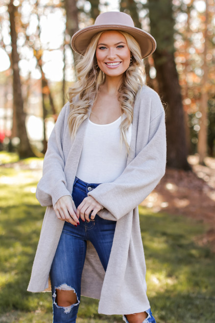 Taupe - Brushed Knit Longline Cardigan