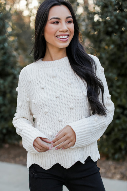 Ivory - Chenille Pom Pom Sweater from Dress Up