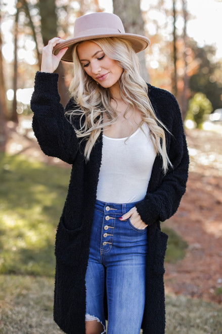 Black - Fuzzy Knit Longline Cardigan from Dress Up