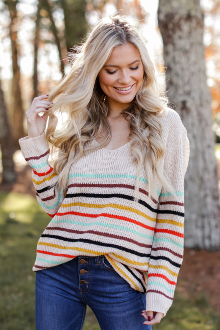 Taupe - Oversized Striped Sweater