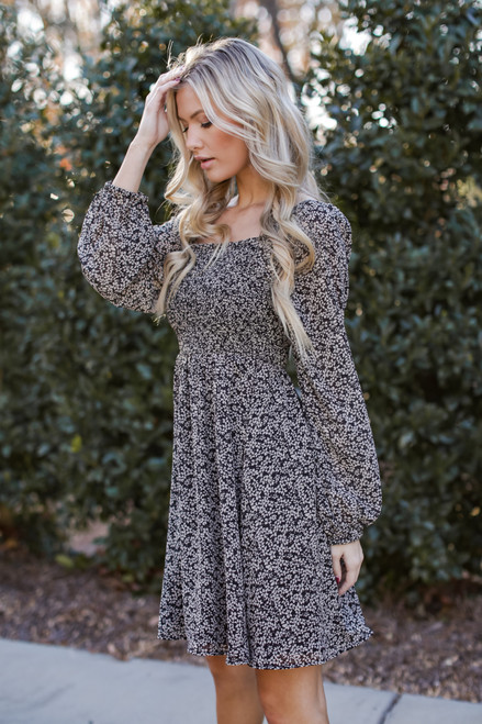 Black - Smocked Floral Dress  from Dress Up