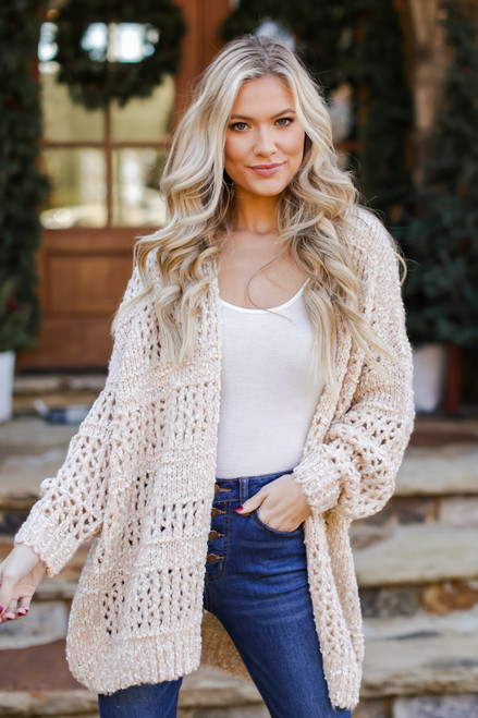 Ivory - Brushed Loose Knit Cardigan