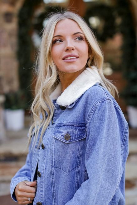 Light Wash - Faux Fur Denim Jacket from Dress Up