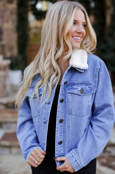 Light Wash - Faux Fur Denim Jacket
