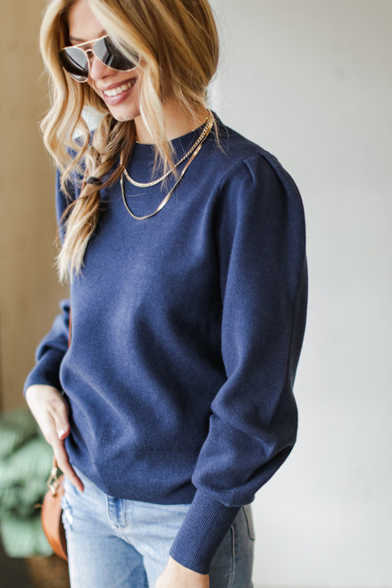 Navy - Dress Up model wearing a Puff Sleeve Sweater with jeans