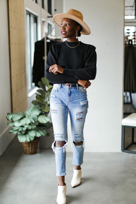 Black - Puff Sleeve Sweater from Dress Up on model with jeans
