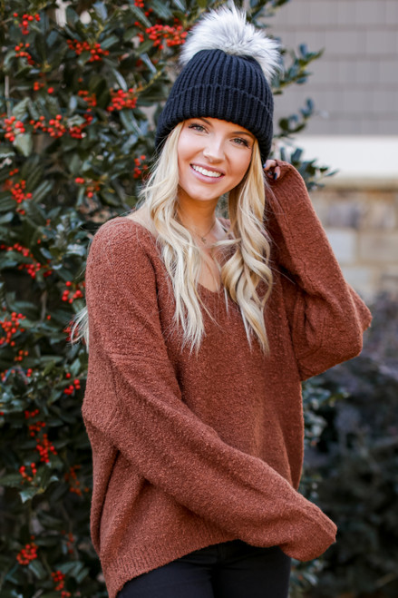 Camel - Fuzzy Knit Sweater