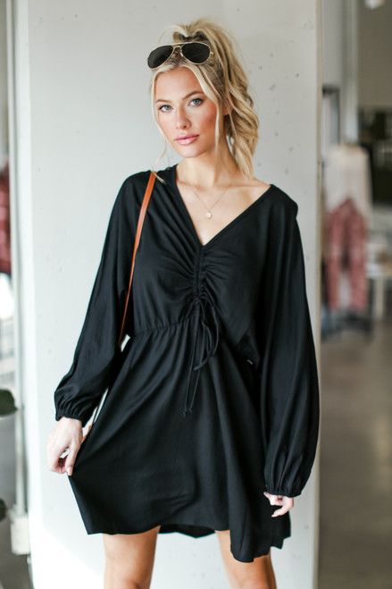 Black - Ruched Dress