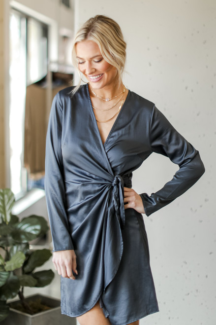 Hunter Green - Satin Wrap Dress