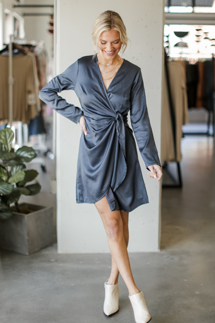 Hunter Green - Satin Wrap Dress from Dress Up