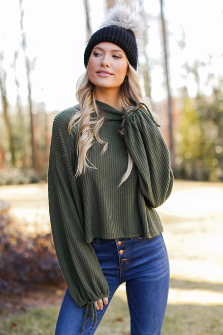 Olive - Dress Up model wearing a Mock Neck Waffle Knit Top