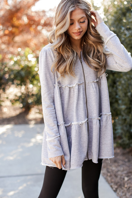 Heather Grey - Tiered Zip-Up Hoodie
