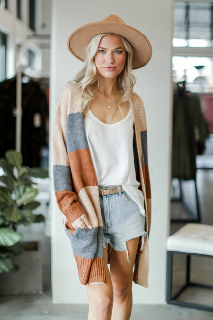 Camel - Color Block Sweater Cardigan