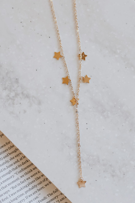 Gold - Star Drop Chain Necklace from Dress Up