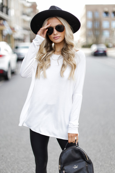 Ivory - Oversized Jersey Knit Top