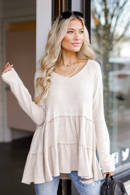 Taupe - Brushed Knit Tiered Babydoll Top