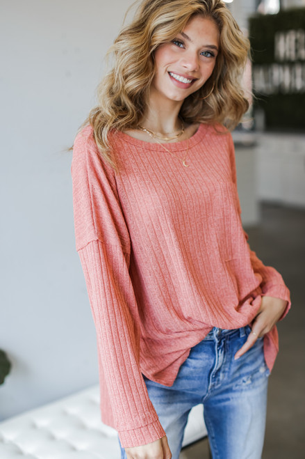 Coral - Oversized Ribbed Knit Top from Dress Up