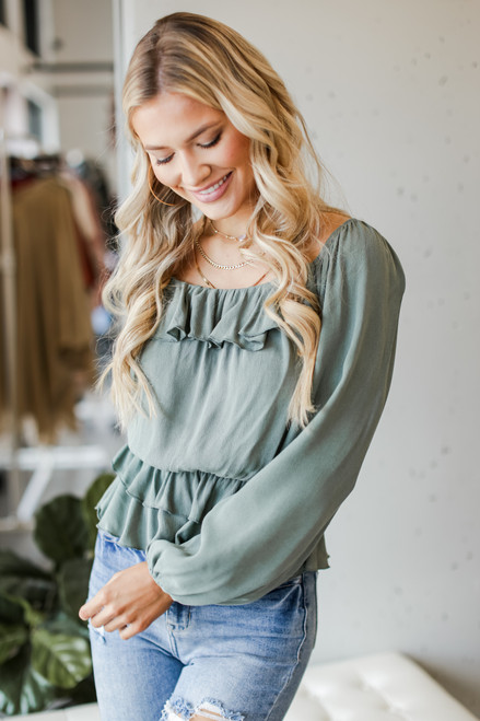 Sage - Ruffled Blouse