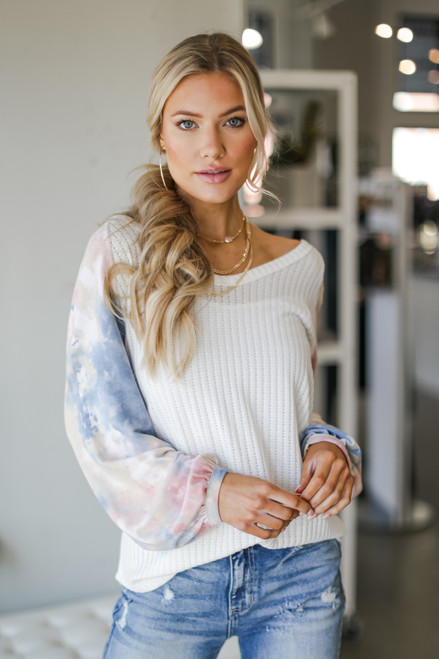 Blush - Tie-Dye Ribbed Knit Top