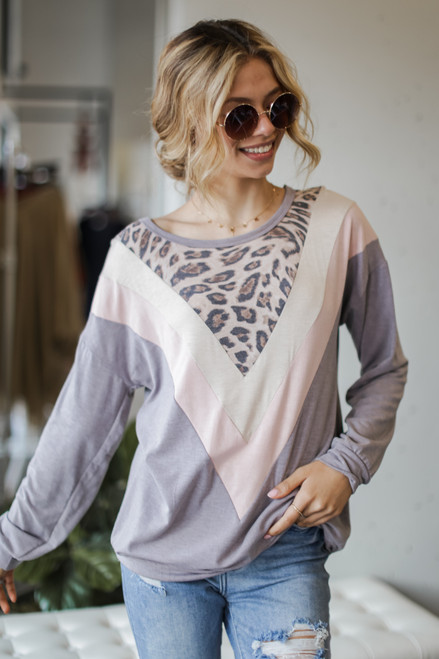 Grey - Oversized Leopard Chevron Pullover
