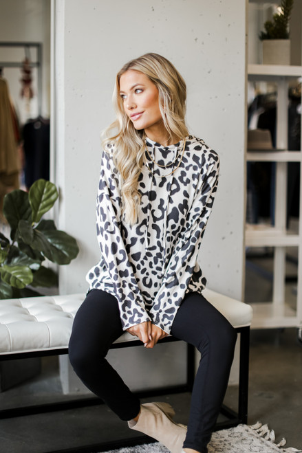 Charcoal - Oversized Leopard Hoodie from Dress Up