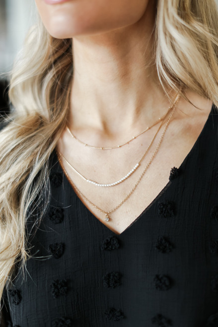Gold - Pearl + Rhinestone Layered Necklace