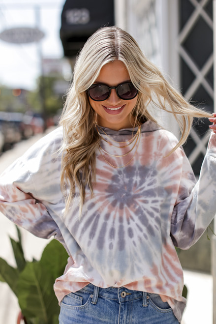 Grey - Oversized Tie-Dye Hoodie from Dress Up
