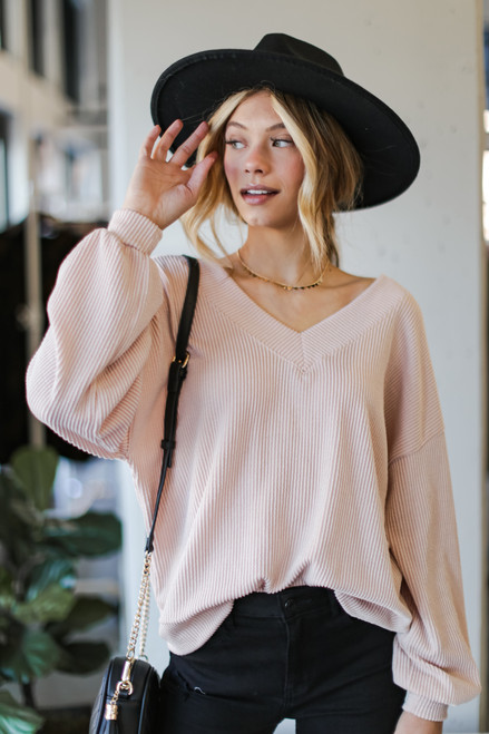 Blush - Ribbed Knit Pullover