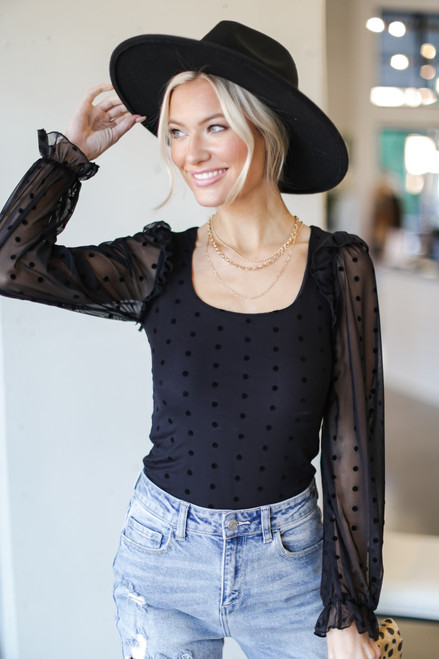 Black - Swiss Dot Ruffled Blouse