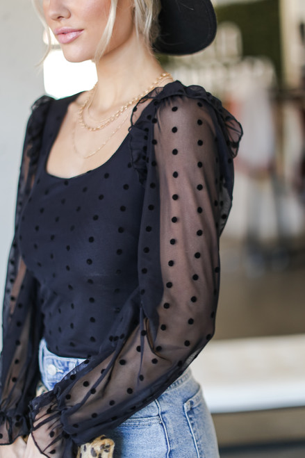 Black - Swiss Dot Ruffled Blouse from Dress Up