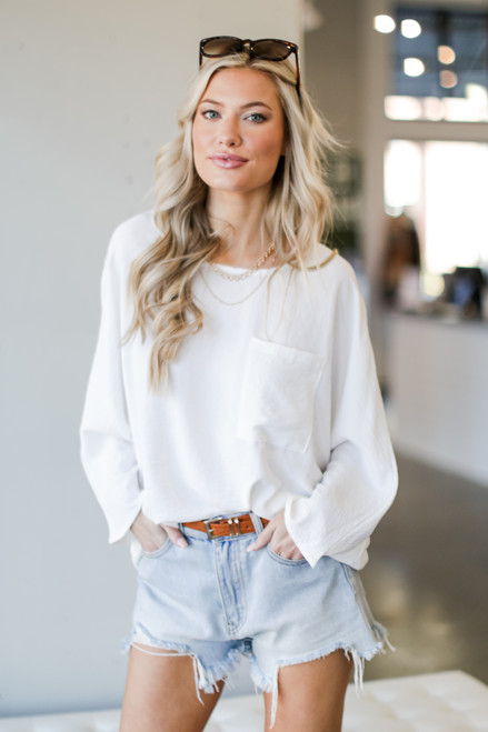 White - Oversized Front Pocket Blouse