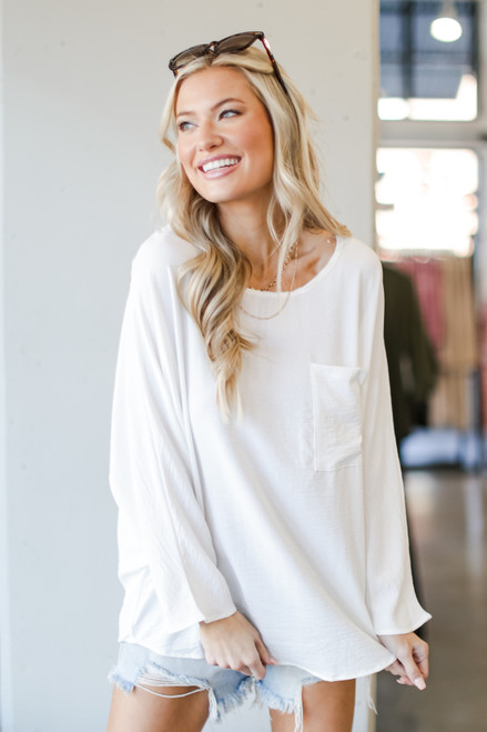 White - Oversized Front Pocket Blouse from Dress Up