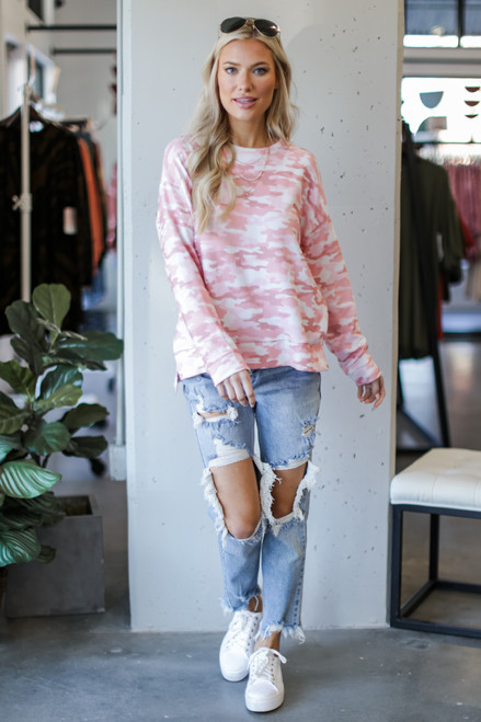Pink - Oversized Camo Pullover from Dress Up